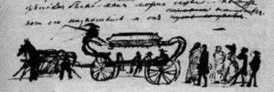Рисунок Пушкина в рукописи Гробовщика